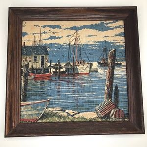 Vintage Framed Linen Print Nautical Boat Wall Art